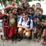 Amanda Abizaid with the Aeta children